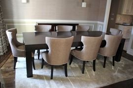 Parsons Dining Room Table with 8 Custom Chairs and Rug