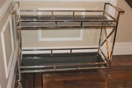 Metal & Smoked Glass Cart on Casers