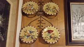 Nice Scroll design plate hanger with 4 Lenox plates with beautiful paintings of birds.