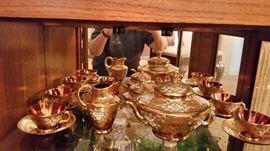 Beautiful Bohemia Czechoslavakia Rhapsody Cranberry Gold crystal with intricate flower design (17 piece) Tea set.