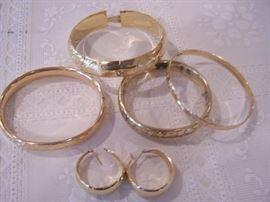 gold bracelets & ear rings