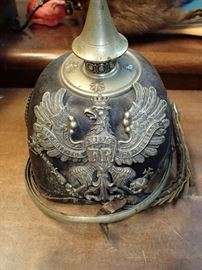 FR - KOENIG  WWI Leather German Pickelhaube Prussian helmet
