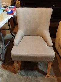FABRIC SIDE CHAIR WITH HOB NAILS