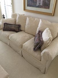 (2)  Robb & Stucky White Brocade couches, beautiful