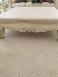 Robb & Stucky coffee table   approx 17 inch ht,  4 ft wide and 4 ft long