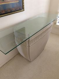 Sofa table, glass top  stone bottom  approx 29 inch ht  16 inch depth and 5 foot long