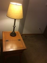 Vintage End table with storage and lamp