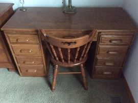 Wood Desk and chairm- both in excellent condition