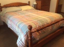 Super nice bedroom set - queen size bed frame, dresser with mirror, chest of drawers, end table