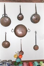 Copper ladles,  strainers