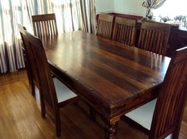 Solid Acacia Wood Table with 6 chairs - imported from Dubai