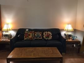 Sofa, coffee table, end tables, lamps and needlepoint tables all priced to sell. The more you buy, the more generous our negotiations!