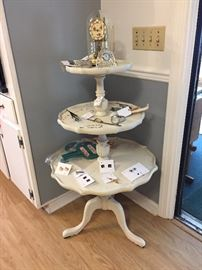 3 tier table, cuff links, tie clips, watches, clocks