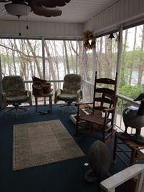 3 piece outdoor set, shutters, rocking chair