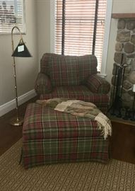 Plaid chair & ottoman