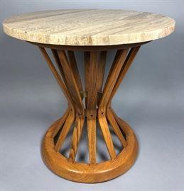 Lot 2 DUNBAR Travertine Top Corseted Oak Slat End Table