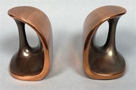 Lot 7 Pr Copper tone BEN SEIBERT Modernist Bookends. Sh
