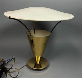 Lot 8 Modernist Mid Century Brass Table Lamp. Brass con