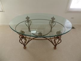 Brass & glass ornate, oval coffee table
