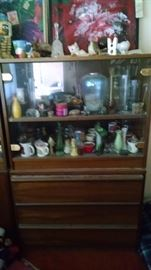 China cabinet, glass ware and collectibles