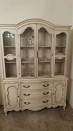 Vintage white china cabinet w/ 2 doors/3 drawers