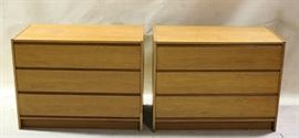 Danish  Vitre pair teak 3 drawer chests