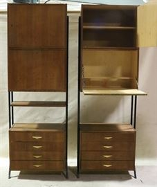 Unusual pair floating top bar cabinets