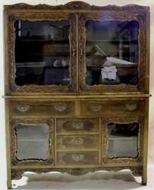 early carved china hutch