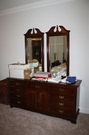 Cherry dresser with mirrors by Cresent