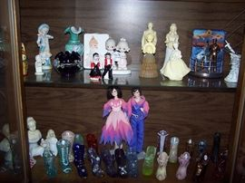 Donnie and Marie Dolls, Fenton Glass Shoes, Avon Bottles, Precious Moments