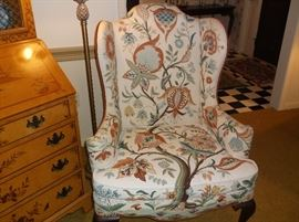 Mary Webb Wood crewel embroidered wing back chair