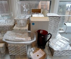 Lots of brand new Princess House crystal glasses, pitchers, bakeware, bowls, serving pieces