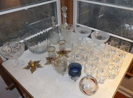 Crystal serving pieces, new glass barware, candle holders