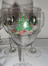 Eight Christmas Tree wine goblets.