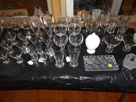 Crystal:  wine glasses, water goblets, small tray.   Barware, etc.