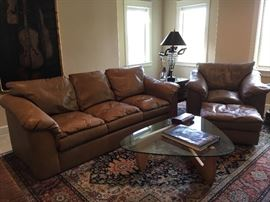 Taupe leather sofa, armchair, and ottoman - Italian made