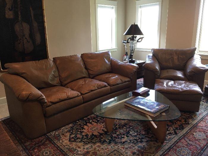 Taupe leather sofa, armchair, and ottoman - Italian made