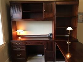 "L-shaped desk, bookcase hutch by Stanley furniture - measures 7'3"" by 6'6"""
