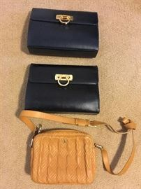 Two Ferragamo purses, one Cole Haan purse
