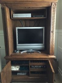 Entertainment cabinet by Drexel, flat screen TV