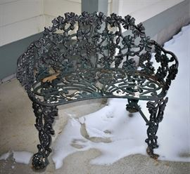 Solid Cast Iron Garden Bench / 2 Person Setee with Grape Vine, Leaf and Grape Bunch Decoration.   Better foundries throughout U.S. c.1900.