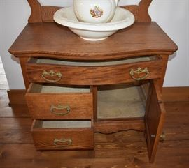 Antique Oak Wash Stand with Towel Bar