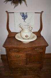 Antique Oak Wash Stand with Towel Bar with  Pitcher and Bowl (Chip in lip of Pitcher)
