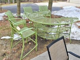Vintage Wrought Iron High-Top Bar w/Four (4) Matching Bar Chairs - Fabulous!