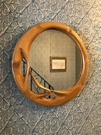 Handcrafted wood mirror