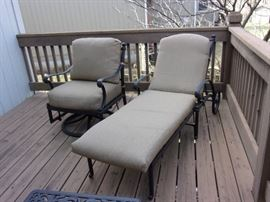 Hanamint Loveseat with cushions, end table, coffee table swivel and chaise lounger, plus four additional chairs and firepit