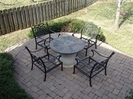 Bella Hanamint patio chairs with firepit