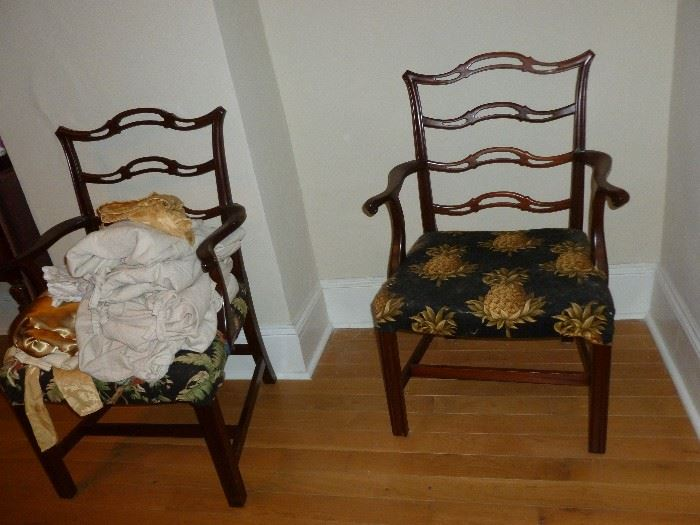 2 Captains Chairs..set of 6 vintage mahogany chairs total..see around the table
