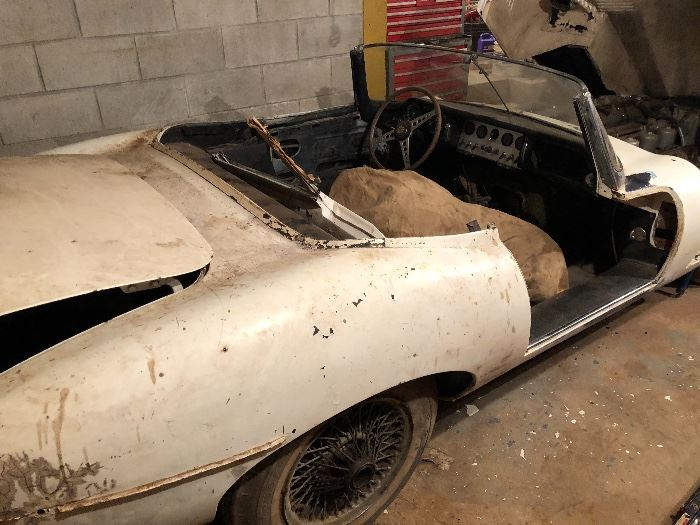 1962 Jaguar XKE Convertible with parts, engine turns over 42K orig. Miles original owner w/ all orig paperwork