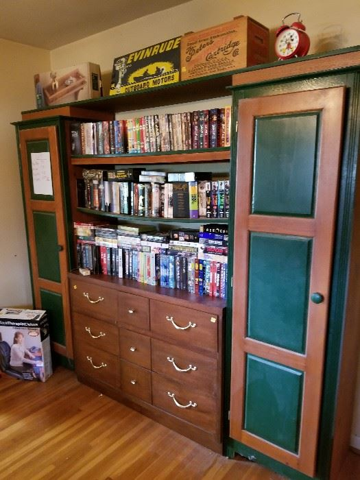 lots of movies and tv series on dvd. many never opened wide range of genres. new and old stuff.